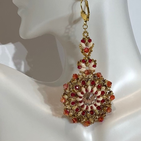 Red and Ivory Dangle Earrings w Swarovski Crystal